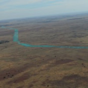 Aerial View of 44 mile Crude Petroleum Pipeline Western Kansas Plains Mississippi Lime Formation All American Native Grass Hydroseeding Challenger Construction